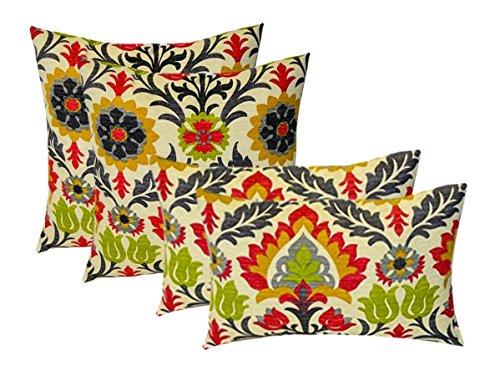 Set of 4 Indoor Outdoor Pillows – 17 Square Throw Pillows 11 x 19 Rectangle Lumbar Decorative Throw Pillows – Raspberry, Gray, Orange, Green Ornate Floral