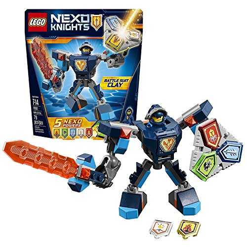 Lego Year 2017 Nexo Knights Series Set #70362 - BATTLE SUIT CLAY with Buildable Suit, Giant Sword and Combo Nexo Power Shield (Pieces: 79) Combo Suit