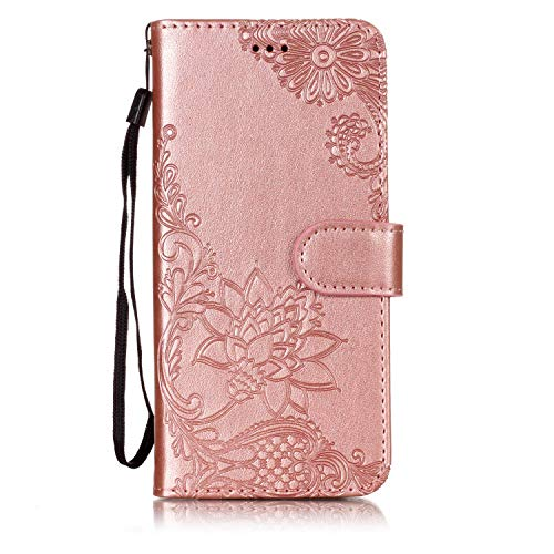 Shinyzone Wallet Case for Samsung Galaxy A6 Plus 2018,Embossed Henna Mandala Pattern Series,Smart Stand and Magnetic Closure Leather Folio Flip Cover with ID Credit Card Slots-Rose Gold by Shinyzone