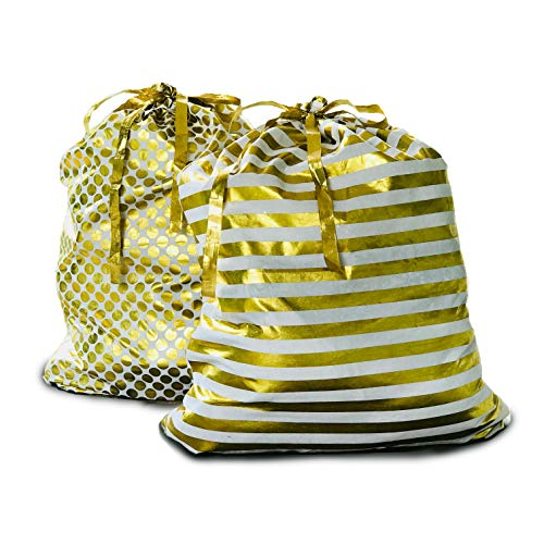 Appleby Lane Reusable Fabric Gift Bags (XXL Santa Sack Set, Gold) Set of 2 Bags, 40x32 -