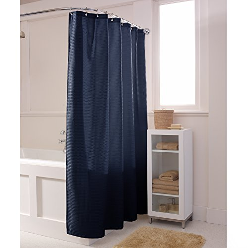 Maytex Textured Waffle Fabric Shower Curtain, Navy (Navy Blue Fabric Shower Curtain)