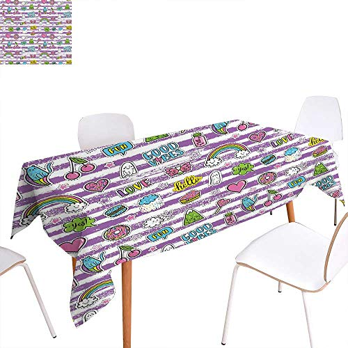 familytaste Good Vibes Customized Tablecloth Purple Stripes with Grunge Look Cheerful Cartoon Characters 80s 90s Style Retro Stain Resistant Wrinkle Tablecloth 70