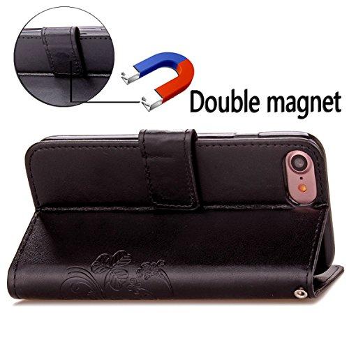 iPhone 7 Hülle, Moonmini® Schwarz PU Leder Handyhülle Magnetverschluss Brieftasche Lederhülle Tasche mit Standfunktion Card Holder für iPhone 7
