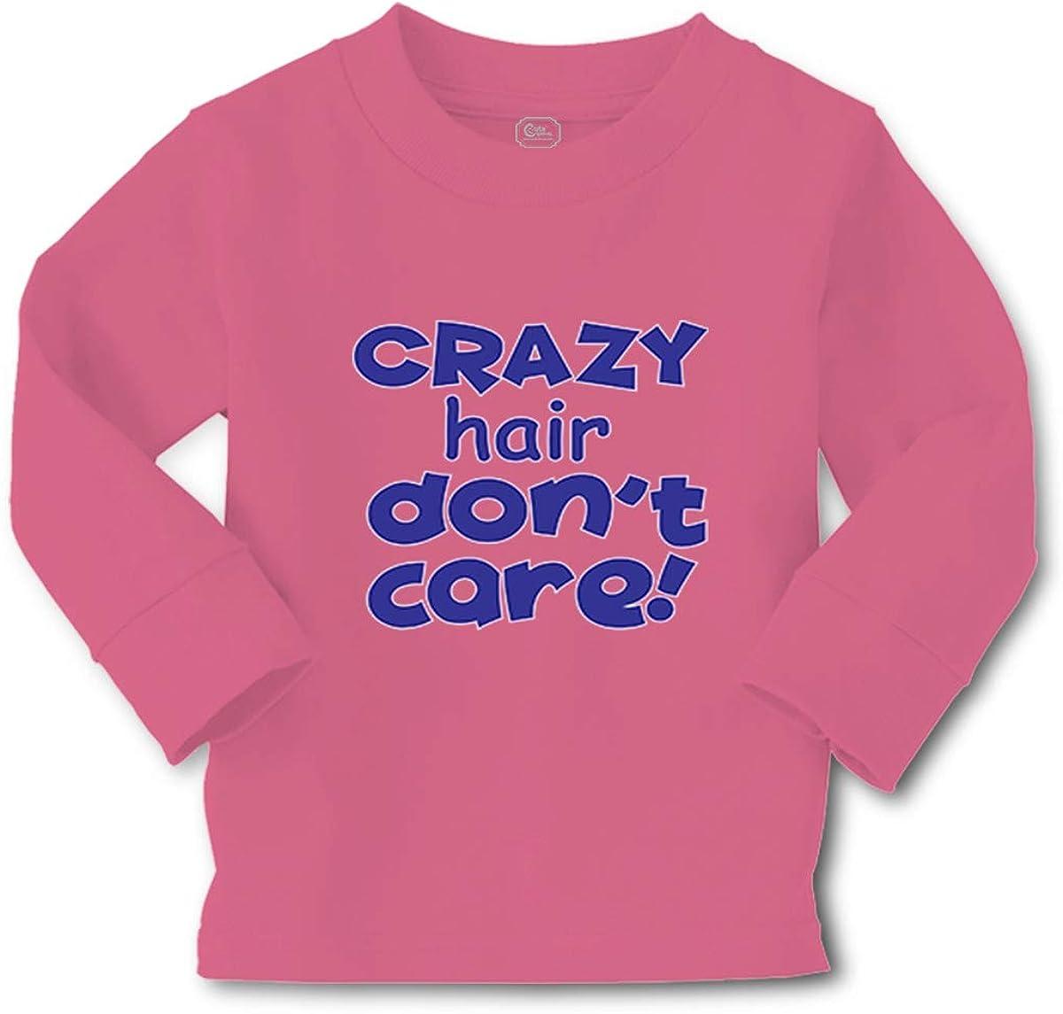 Cute Rascals Crazy Hair Don't Care Long Sleeve Crewneck Boys-Girls Cotton T-Shirt Tee