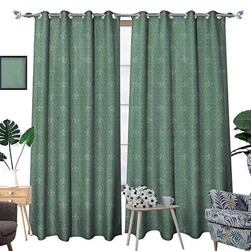- Warm Family Fleur De Lis Waterproof Window Curtain Classical Abstract Royal Floral Arrangement Ancient Lily Design Medieval Art Blackout Draperies for Bedroom W72 x L96 Reseda Green