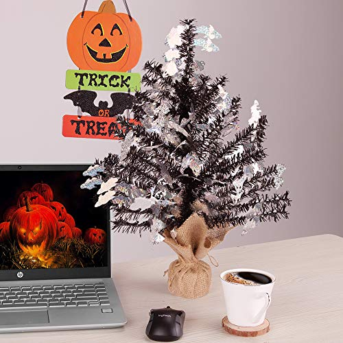 Joy-Leo 1 Foot Pop-up Black Ghost Tinsel Tree for Halloween Decoration with Burlap Stand, Tabletop Halloween Christmas Tree with Ghost Cut Out Sequins]()