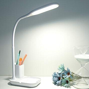 Lámpara de escritorio LED con soporte para lápiz, Regulable 3 ...
