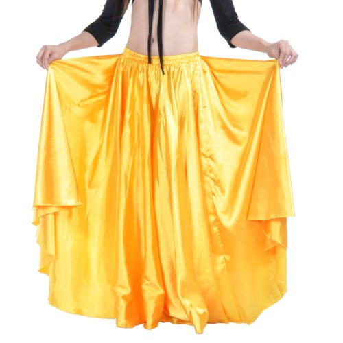 [Dance Fairy Belly Dance Satin Party Midi Skirt,Yellow] (Childrens Santas Helper Costume)