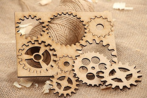 Set of Vintage Plywood Handmade Craft Blanks Gear Wheels Art Supply - Great Gift Idea by Made Heart