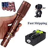 Super Bright LED Flashlight Police Military Adjustable 5 Mode T6 2000 Lumens Torch with 18650 Rechargeabke Batteries Charger Bike Clip ship from USA