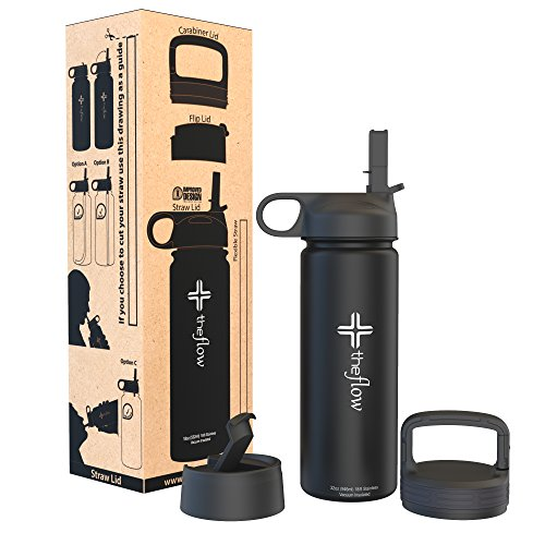 the flow Stainless Steel Water Bottle Double Walled/Vacuum Insulated - BPA/Toxin Free – Wide Mouth with Straw Lid, Carabiner Lid and Flip Lid, 32 oz.(1 Liter) (Black, (Bike Flask)