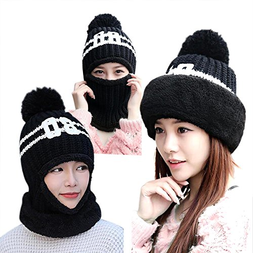Thicker Knitted Beanies Windproof Motorcycle Neck Warmer Ski Face Mask Balaclava Tactical Hood Winter Soft Warm Fleece Hat Three Way Wear for Women Girls Outdoor Snowboarding Skiing Riding Black