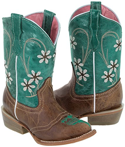 Veretta Boots- Girls Kids Teal Light Brown Floral Embroidered Cowgirl Boots Snip 2 Youth (Boots Girls Youth Cowgirl For)