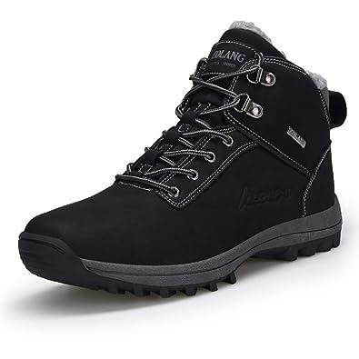 happygo! Uomo Stivali da Neve Inverno Impermeabili Scarpe da Escursionismo Trekking Outdoor Pelliccia Sneakers Nero Marrone
