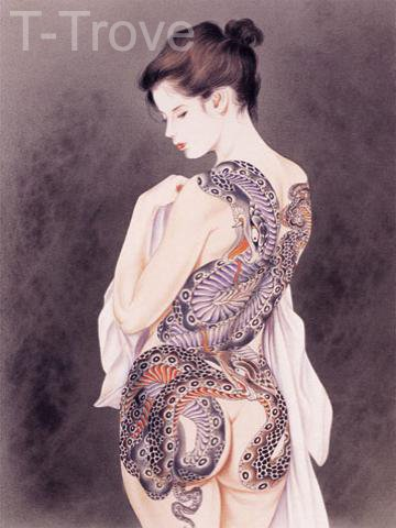 Tattoo Japanese Lady Wall Scroll Q3