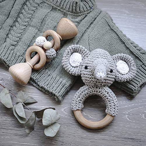 Classic Bundle Wooden Rattle + Crochet Elephant Pattern Teething Rattle Ring Set Montessori Toys Newborn Baby Gift - Gray