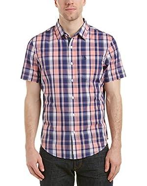 Mens Woven Shirt, L, Blue