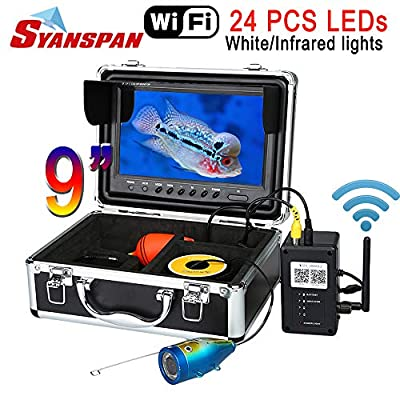 "SYANSPAN 9"" WiFi Fish Finder Underwater Fishing Video Camera Waterproof IP68,Support 3PCS Smart Devices,24 Adjustable LED Night Version with Remote Control"