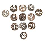 PARIJAT HANDICRAFT Printing Stamps Astrology Horoscope Design Wooden Blocks (Set of 12) Hand-Carved for Saree Border Making Pottery Crafts Textile Printing