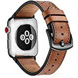 Apple Watch band 42mm, Zeiger Genuine Leather iWatch Replacement Strap Bands with Black Metal Clasp Buckle for Series 1 2 3 dressy Men Women (Brown)