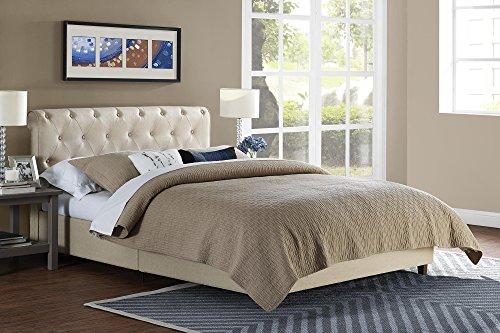 DHP Carmela Linen Tufted Upholstered Platform, Full, Tan