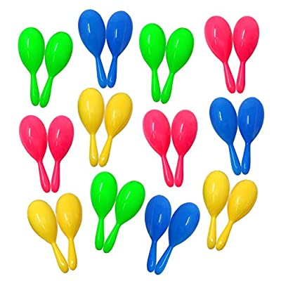 Neon Maracas Party Noisemakers For Mexican Fiesta, Birthday Party And Celebrations - Party Favor Pack Of 24 Mini Maracas Shakers: Toys & Games