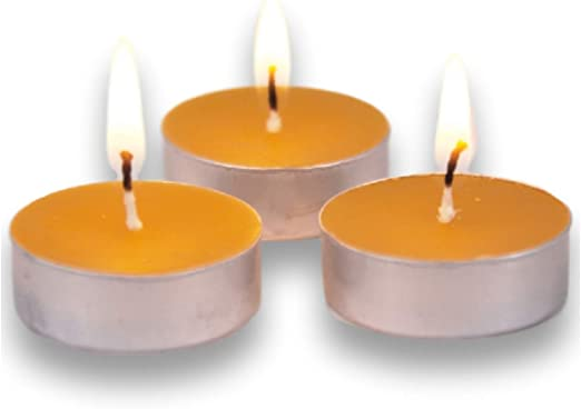 LUMI 100/% Organic Beeswax Tealight Candles Fill Your Home with a Honey Scent and a Warm Glow with Pure Beeswax Tea Lights Aluminum Cup 20PC Chemical and Non Toxic Candles