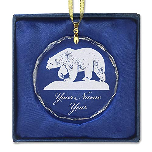 SkunkWerkz Christmas Ornament, Polar Bear, Personalized Engraving Included (Round Shape)
