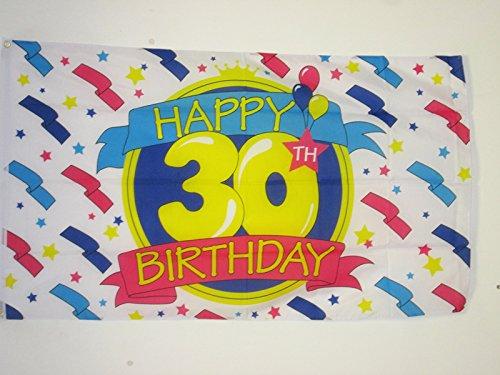 AZ FLAG Bandera Feliz CUMPLEAÑOS 30 AÑOS 150x90cm - Bandera DE Las FELICIDADES - Happy Birthdays 90 x 150 cm