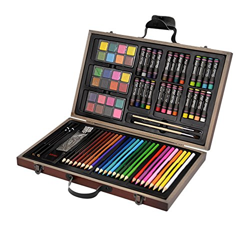 CONDA and Kiddy Color Deluxe Wood Art Set for Kids in Wooden Case, A199297 Painting Sets for Children,79 Piece
