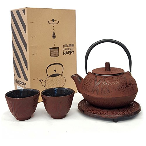 Happy Sales HSCT-BMR05, Cast Iron Tea Pot Tea Set Bamboo Red