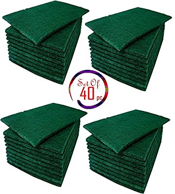 Green Scrub Scouring Sponge Pads, Great for Kitchen dishwashing,Pot Cleaning Dish Scrunge,Set Of 40 5 3/4'' x 3 3/4''