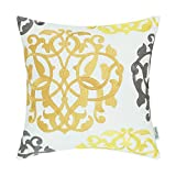 CaliTime Cotton Throw Pillow Case Cover for Bed Couch Sofa Vintage Compass Geometric Floral Embroidered 18 X 18 inches Gold Yellow Gray