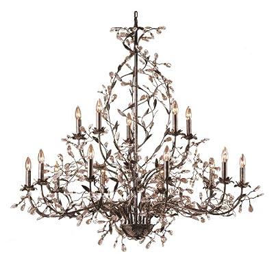 Elk Lighting 8056/10+5 15 Light Chandelier, Deep Rust/Crystal Droplets