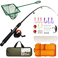Lanaak Kids Fishing Pole and Tackle Box - with Net,...