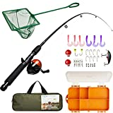 Lanaak Kids Fishing Pole and Tackle Box - with Net, Travel Bag, Spincast Reel and Beginner's Guide | Collapsible Fishing Rod and Reel Combos Kit for Boys, Girls, and Adults