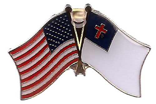 Pack of 3 Christian & US Crossed Double Flag Lapel Pins, Apostolic & American Friendship Pin Badge ()