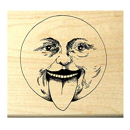P118 Vintage Moon face with Tongue Sticking Out Rubber Stamp