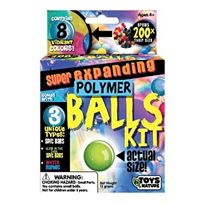 Toys By Nature Super Expanding Polymer Balls Kit - Entertaining Kids DIY Kit, Safe & Non Toxic Ingredients - Balls Grow 200 Times Their Size - They Slip, Slide, Bounce, and Glow: Toys & Games