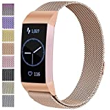 ATUP Metal Replacement Bands Compatible for Fitbit Charge 3 and Charge 3 SE Fitness Activity Tracker, Milanese Loop Stainless Steel Bracelet Strap with Unique Magnet Lock for Women Men