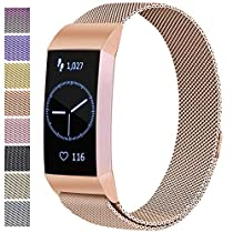 ATUP Metal Replacement Bands Compatible for Fitbit Charge 3 and Charge 3 SE Fitness Activity Tracker, Milanese Loop Stainless Steel Bracelet Strap with Unique Magnet Lock for Women Men (Rose Gold, Small)