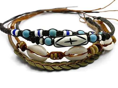 BrownBeans, Macrame Cord Reggae Summer Casual Wear Anklet Bracelet (CBCT7000) (L)