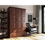 """100% Solid Wood Grand Wardrobe/Armoire/Closet by Palace Imports, Mocha, 46"""" W x 72"""" H x 21"""" D. 4 Small Shelves, 1 Clothing Rod, 2 Drawers, 1 Lock Included. Additional Large Shelves Sold Separately."""