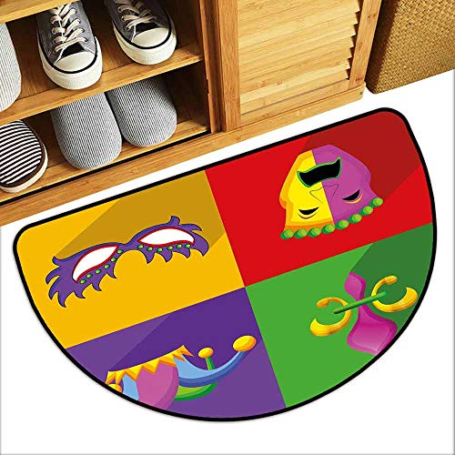 G Idle Sky Mardi Gras Antibacterial Doormat Colorful Frames with Mardi Gras Icons Masks Harlequin Hat and Fleur De Lis Print Hard and wear Resistant W31 x L19 Multicolor]()