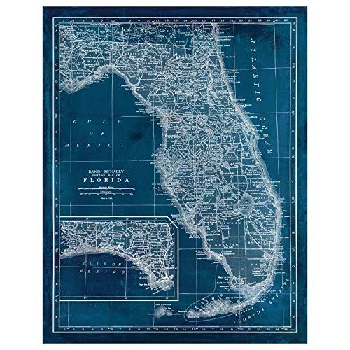 Florida Vintage Map - Blueprint Map Art - State of Florida Unframed Antique Map