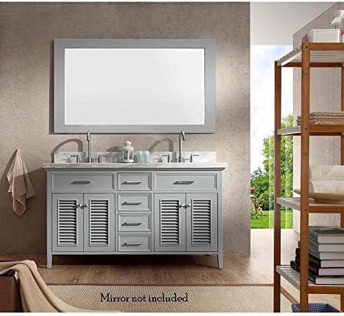 ARIEL Kensington D061S-VO-GRY 61″ Inch Single Rectangular Sink Grey Bathroom Vanity Cabinet