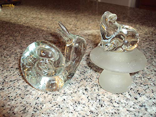 Two Paperweights Toad on Frosted Toadstool and Controlled Bubble Snail
