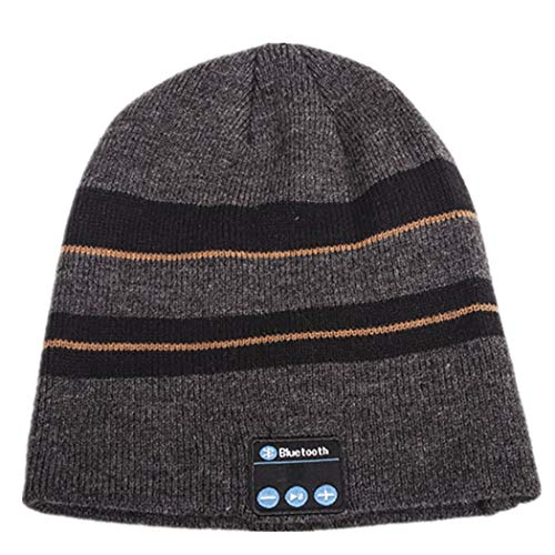 TLMYDD Stylish Autumn and Winter Striped Knit Bluetooth Cap for Warmth and Comfort Bluetooth Earphone (Color : Hemp Gray Yellow)