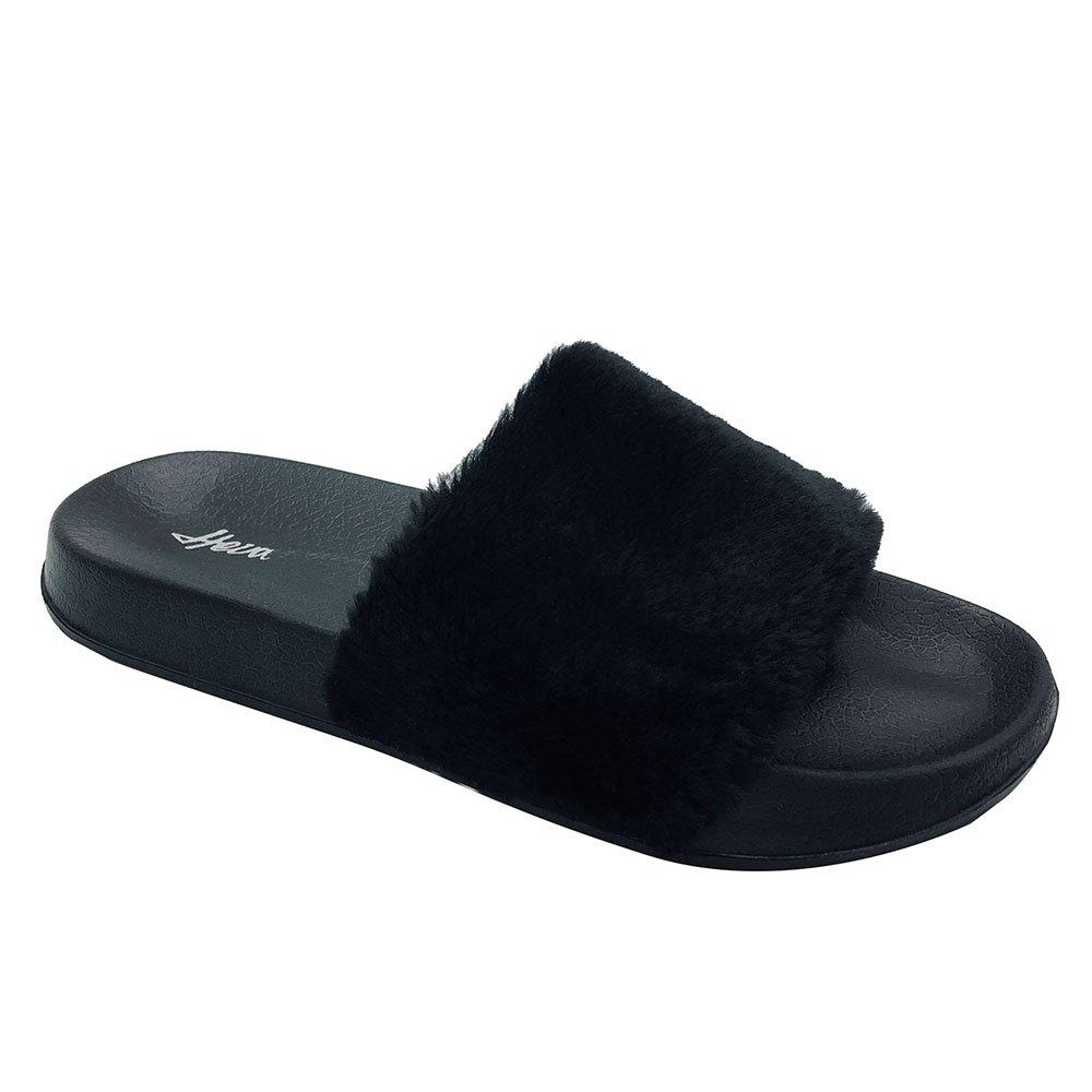 Funkymonkey Women's Slides Faux Fur Cute Fuzzy Slippers Comfort Flat Sandals by Funkymonkey (Image #1)
