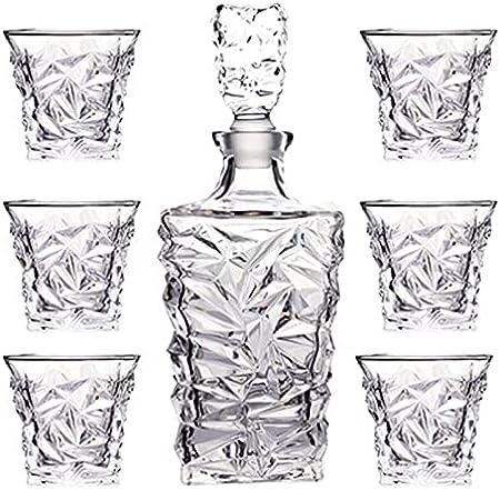 SuDeLLong Juego de Vasos y Jarra de Whisky Decantador de Cristal con tapón de Vidrio (850 ml) y 6 Gafas de Whisky (280ml) para Hombres (Color : Clear, Size : 7 Piece Set)